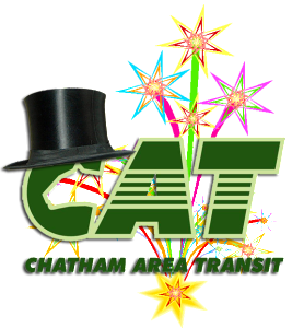 CAT logo with fireworks