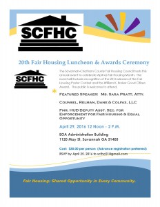 Fair Housing Luncheon flyer for April 29, 2016