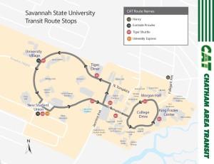 Savannah State campus bus stops map