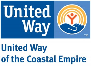 blue and white logo for United Way of the Coastal Empire