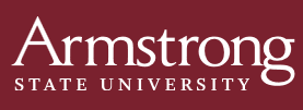 """maroon rectangle with white letters, """"Armstrong State University"""""""