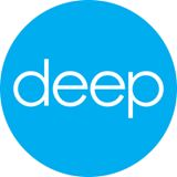"""Deep Center logo: light blue circle with white letters on it, spelling """"deep"""""""