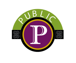"official City of Savannah parking logo: purple circle with white P and ""Public"" written above"