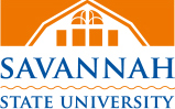 white and orange logo with blue letters for Savannah State University
