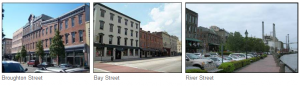 collage of Broughton, Bay, and River Street photos for Downtown Streetscape Improvements