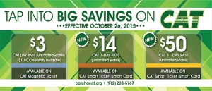 "green plaid background with text ""tap into big savings on CAT"" with october 2015 pass rates"