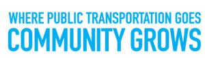 "apta ""Where Public Transportation Goes Community Grows"" campaign logo"