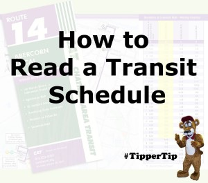 image of schedule with text how to read a transit schedule #tippertip
