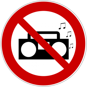 symbol for loud music prohibited