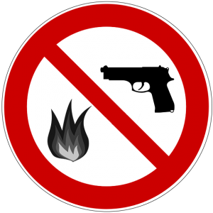 symbol for weapons and fire prohibited