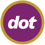 purple circle with gold ring around it and white letters spelling 'dot' inside for dot logo