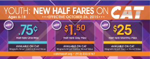 purple plaid background with youth half-fare rates