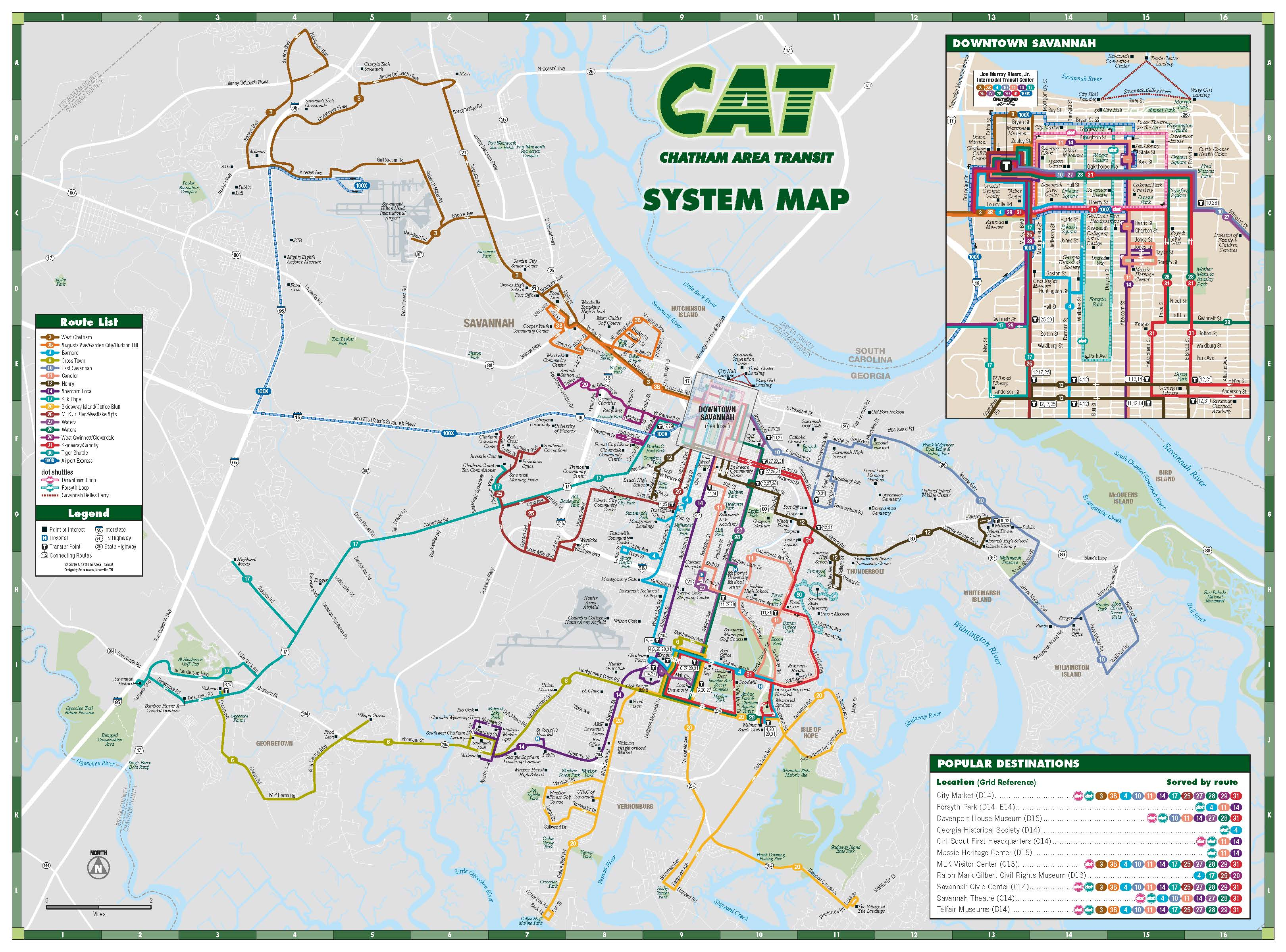 This image shows a map of the CAT bus system