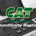 "Picture of a phone with text stating ""CAT Community Meeting"""
